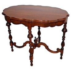 Rare Mersman Oval Table Italian Victorian Walnut Entry area parlor console