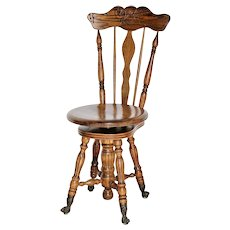 Vintage Victorian style Piano Stool With Glass Claw Feet Solid Oak chair Adjustable seat