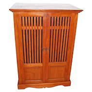 Antique Mission Entertainment Storage Curio Cabinet Arts and Crafts Style