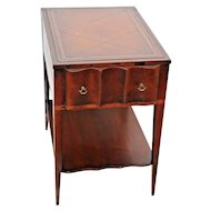 French tooled Leather Top scallop drawer Mahogany Lamp Table with shelf