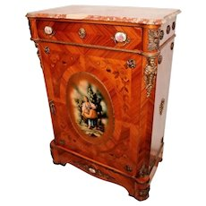 Rose themed French Empire Locking Cabinet top drawer Pink Marble top
