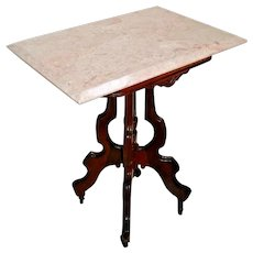 English Victorian East Lake Pink Marble Top Side End Table on Casters