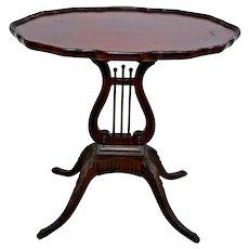 Vintage Lyre Harp Base Side Parlor Table Solid Mahogany rare top pie trim #7339