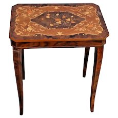 Antique English Flip Top Sewing Side Table Stand with music box Burlwood inlays