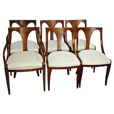 Mid Century Walnut Dining Chairs Lawrence Peabody Style set of six