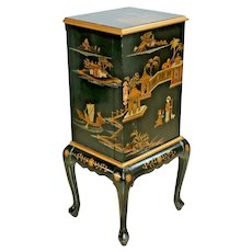 Vintage Jewelry Box Free Standing Armoire Hand Painted Asian Chippendale style