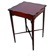 Vintage solid Mahogany Accent Table Tall Square entry copeland style