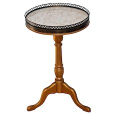 Vintage French round Table Marble Top Brass rimmed Display Plant Stand