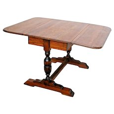 Antique English Pub Table Solid Tiger Oak Drop side Leaf Kitchen Game Seats six