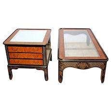 Vintage Drexel Asian Style Cocktail Table and Side Table Set with Burl Panels