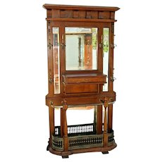 Vintage Oak Hall Tree Glove Box umbrella stand coat rack beveled mirrors