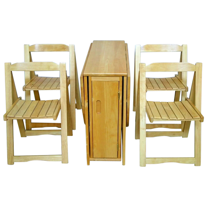 Drop Leaf side Kitchen craft Table Solid Maple chair set inside storage  rolling