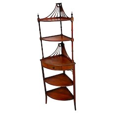 Art Deco Corner freestanding Shelf Etagere Five Tier Mahogany Butler furniture