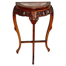 Vintage Half circle Table Solid wood marble top insert French style entry stand