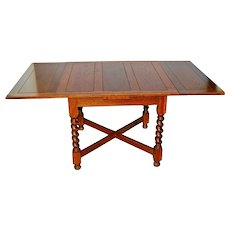 Vintage Dutch Oak Refectory Table with Large Barley Twist Legs pull out drop down leafs