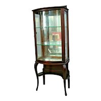Antique China Cabinet Curio Rockford Furniture original curved wavy glass