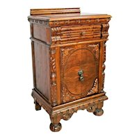 Antique Victorian Vanity Cabinet Hand carved English Oak with Top Drawer inlays