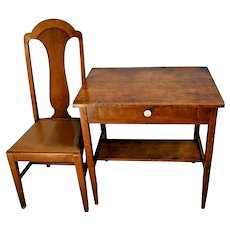 Mission arts and crafts Desk Tiger oak quarter sawed with oak Chair