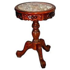 Plant Stand Vintage Carved Wood and Pink Marble Top Pedestal Side Table