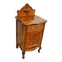 Vintage French Vanity Cabinet carved Legs with Top Drawer carved back stop