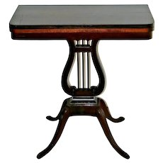 Antique Expanding Console Game Table Lyre Harp Base flip top Mahogany