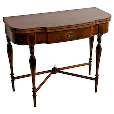 Victorian Desk Expanding Console Game Table Drawer flip top Mahogany Inlays