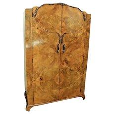 Gorgeous Armoire Art Deco Wardrobe Closet Double Doors Lion Faced Wood Grain