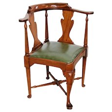 Gorgeous Vintage Chippendale corner chair Green seat Walnut cross leg