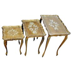 Gorgeous Italian Nesting Tables Mid Century bake lite top stacking set of three