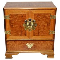 Gorgeous Vintage Cabinet with felt lined drawers side table large jewelry box