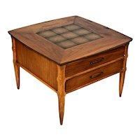 Vintage Lane Alta vista Two Drawer Walnut Table With center insert mid century