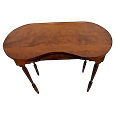 ANTIQUE Vanity Small writing Desk Top Drawer solid hardwood Kidney Shape top