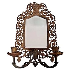 Antique Bradley Hubbard Gothic wall Sconce Brass & Beveled Mirror Candle Holder