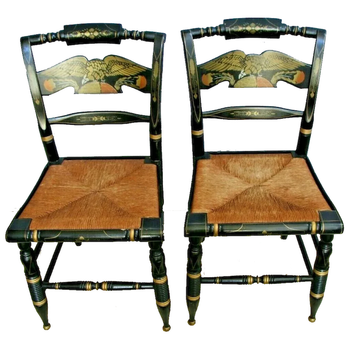 Awe Inspiring Pair Ethan Allen Hitchcock Eagle Desk Chair Rush Caned Black Lacquer Stencil Gmtry Best Dining Table And Chair Ideas Images Gmtryco