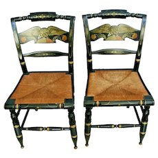 Pair Ethan Allen Hitchcock Eagle Desk Chair Rush Caned Black Lacquer Stencil