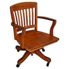 Mission Arts and Crafts Office Arm Chair Solid Maple rolling bankers style rocks