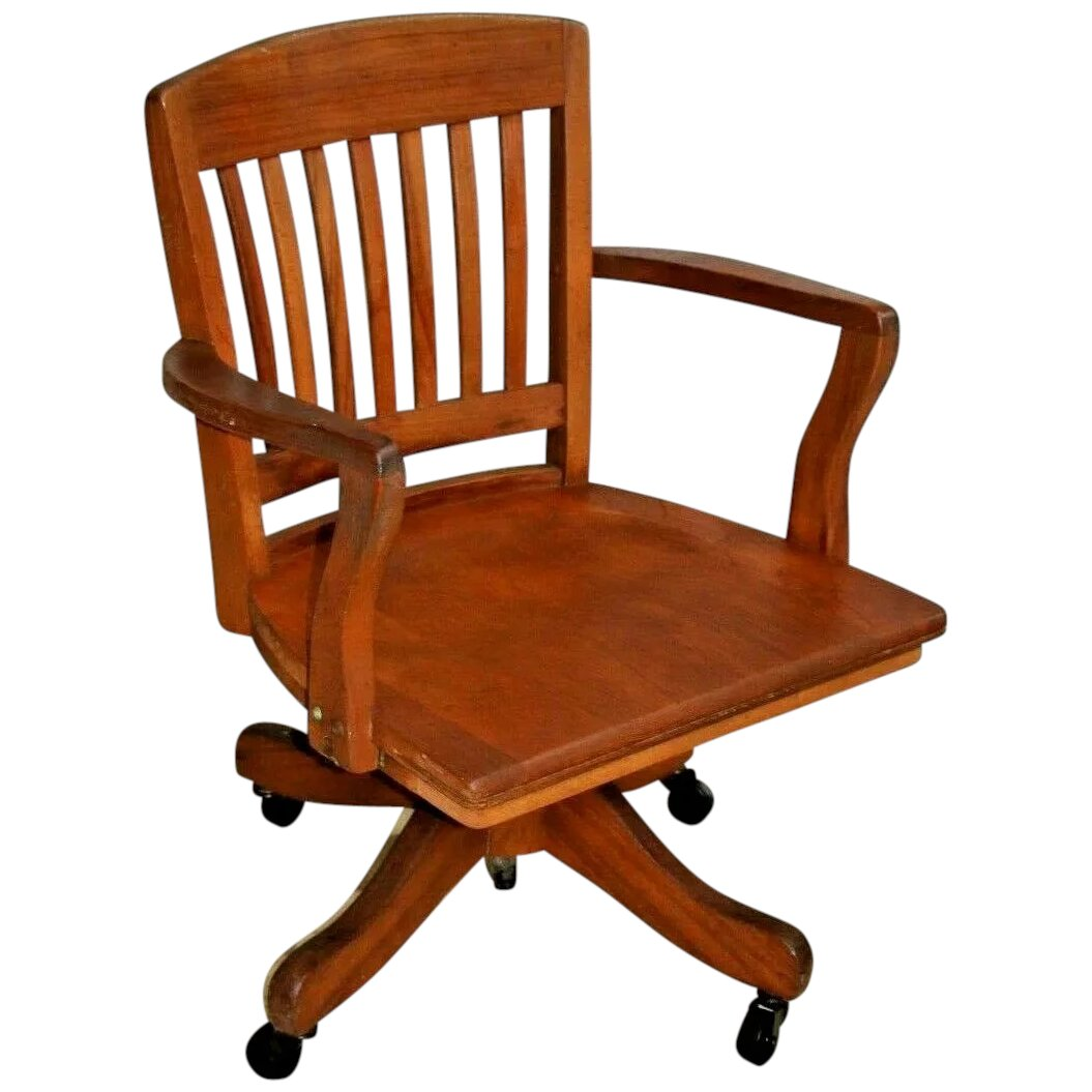Mission Arts And Crafts Office Arm Chair Solid Maple Rolling Bankers At Melrose Vintage And Antique Furniture Ruby Lane