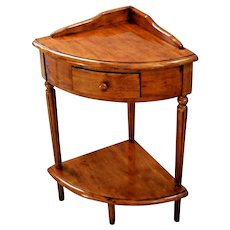 Vintage Corner side Table with Drawer and bottom Shelf solid Walnut pie shape