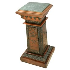 Antique Pedestal Marble top Bust JARDINIERE Stand Masonic Victorian carvings
