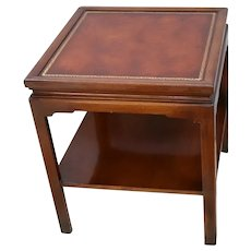 Mid Century Table with bottom shelf two tier solid walnut Embossed leather top