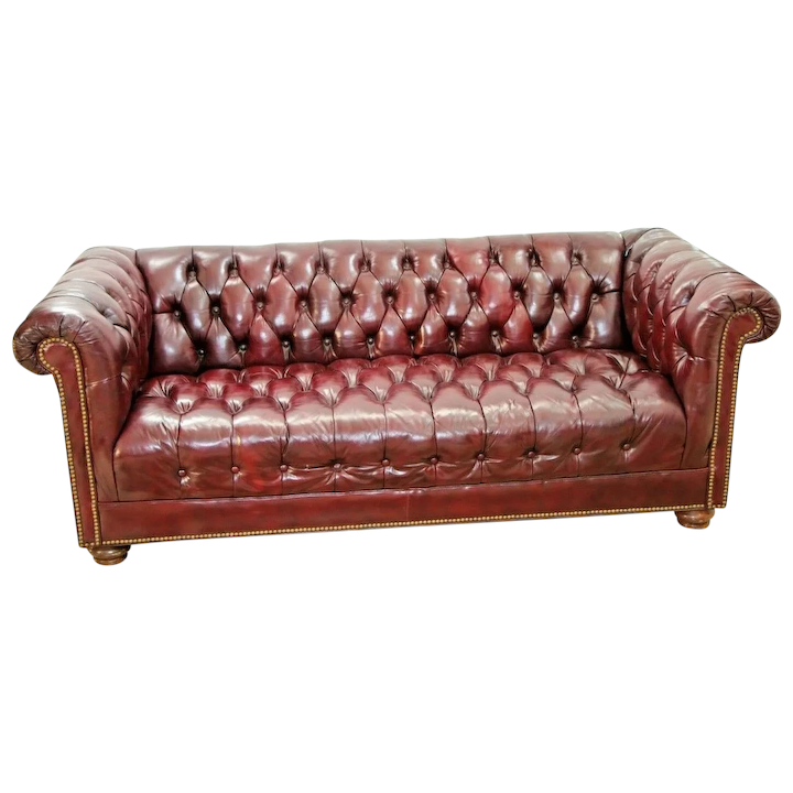 Chesterfield Leather Sofa Rolled back and arms, Burgundy Vintage couch