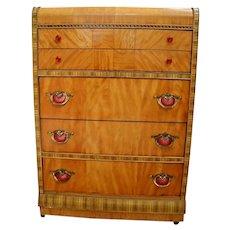 Art Deco Dresser Waterfall Highboy Satin wood, bake light lucite handles,
