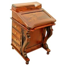 Vintage Artist desk Flame Mahogany American Empire Quervelle style custom 16 drawers