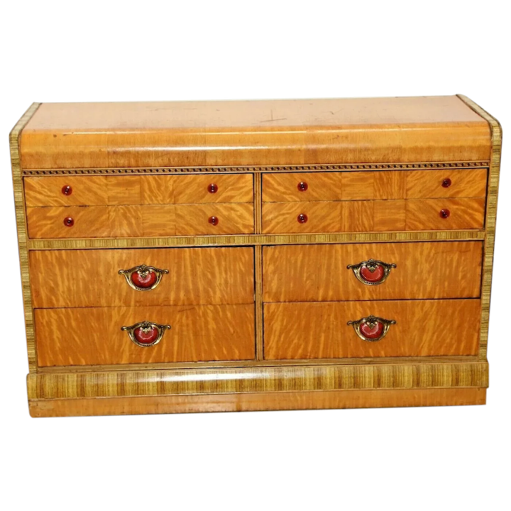 Art Deco Dresser Vanity Waterfall Lowboy Satin Wood Bake Light Lucite At Melrose Vintage And Antique Furniture Ruby Lane