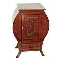 Vintage Cabinet with bottom drawer carved front, tall side lamp accent table