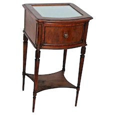 Antique Two Tier end side Table with Drawer and Bottom shelf glass lace top