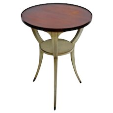 Gorgeous Vintage Neoclassical Round Two tiered table with Bottom shelf