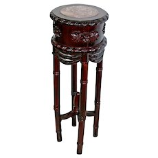 Tall Dark wood and Pink Marble Top Round plant stand Foyer Console entry table