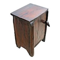Antique Rustic Cabin Cabinet End Table Solid hand split Oak Duck head handle
