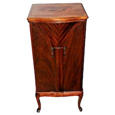 French Art Deco Liquor Cabinet Bar Chevron inlays Butterfly swing out Doors